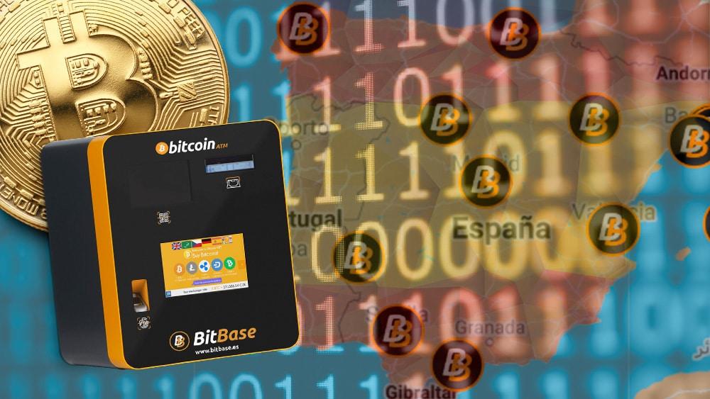 Bitbase con mapa de España con sus colores y bitcoin.