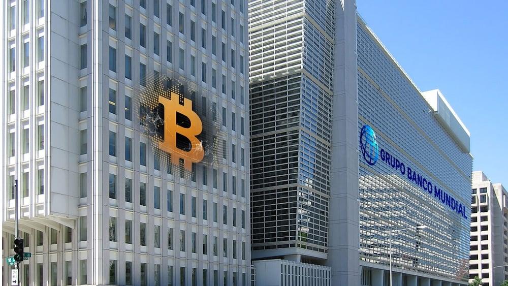 Sede de banco central con su logo y bitcoin.