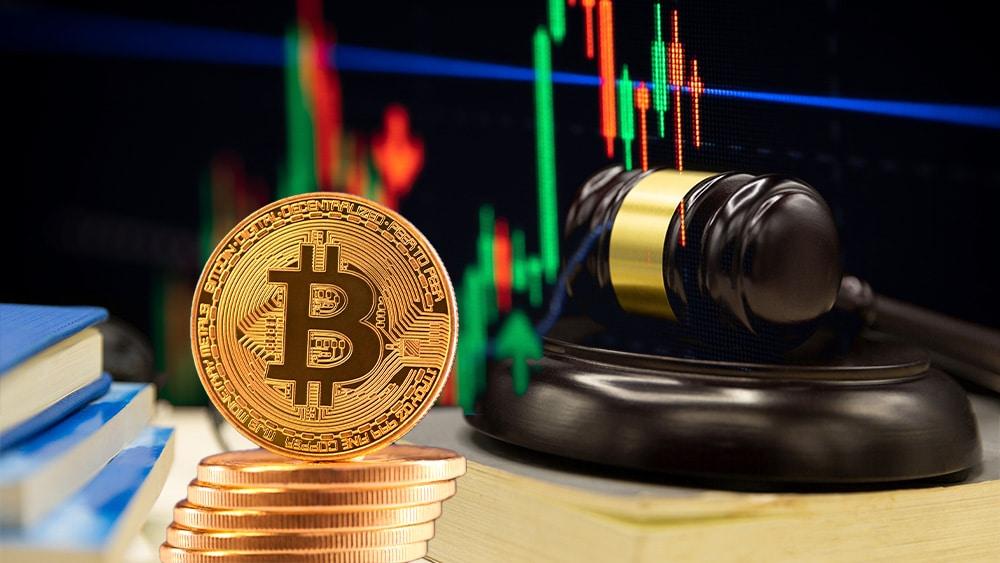 Regulación bitcoin y gráfico.