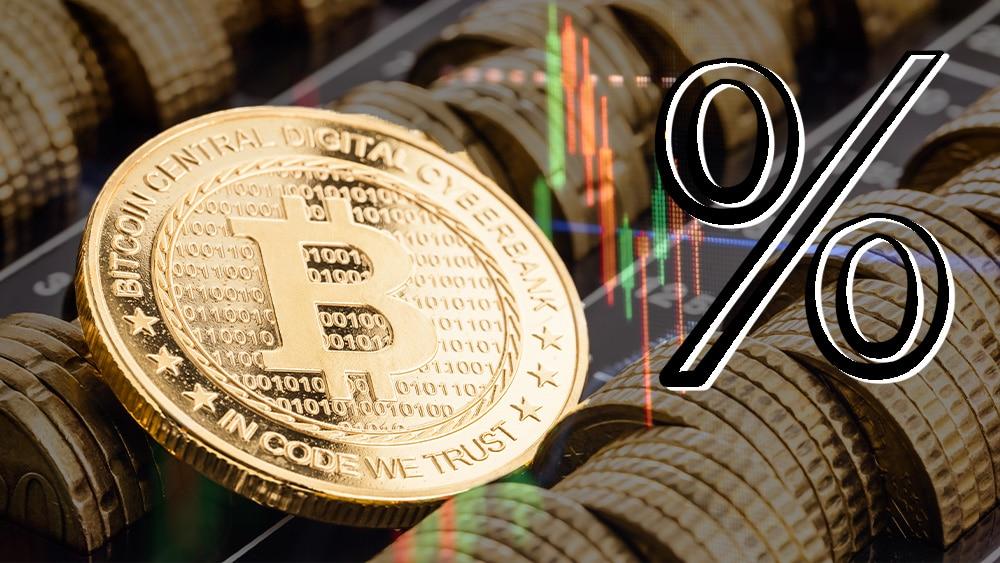 bitcoin con símbolo de porcentaje y gráfico.