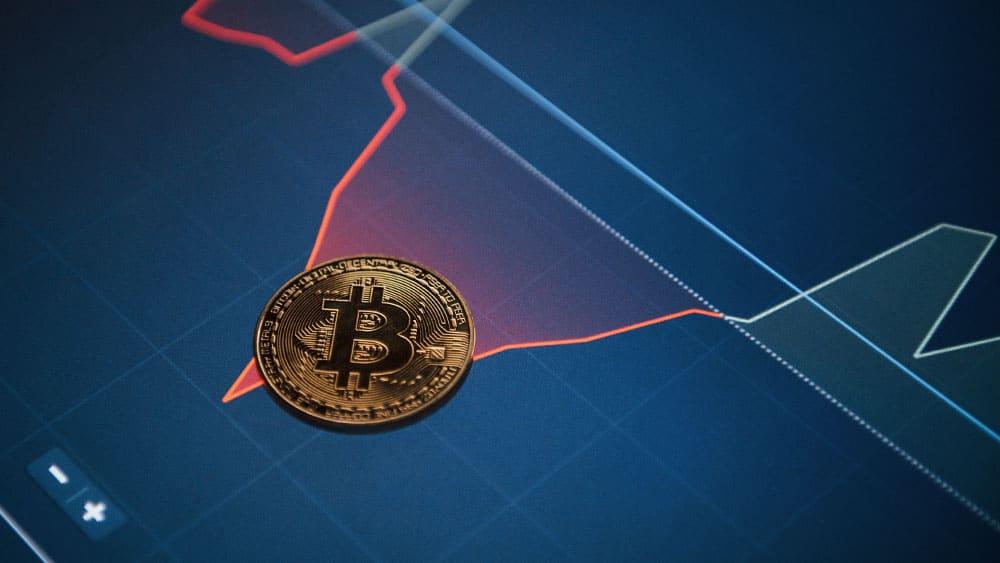 Bitcoin con gráfico rojo.