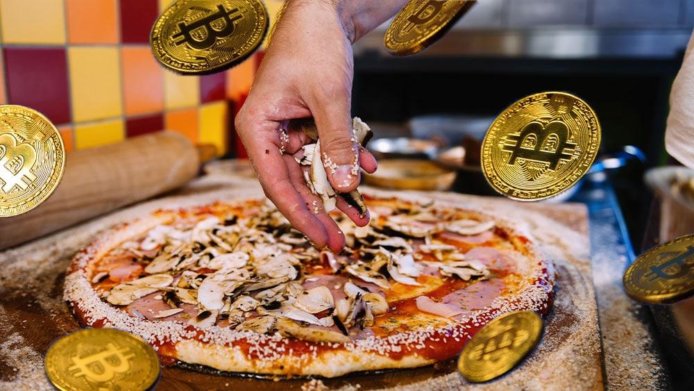 Pizza con bitcoins.