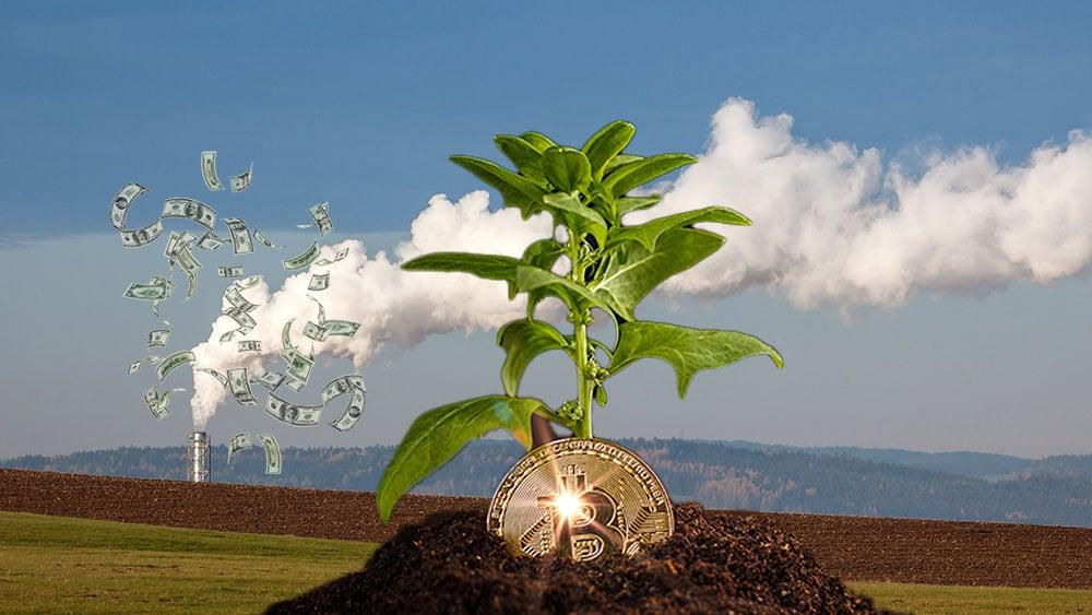 """""""Después de 6 años del Acuerdo de París, los bancos tradicionales continúan financiando proyectos que afectan al medio ambiente"""". Composición por CriptoNoticias Fuentes:  grafvision  /  elements.envato.com  ;  luisviegas  /  elements.envato.com  ;   pngegg.com ."""