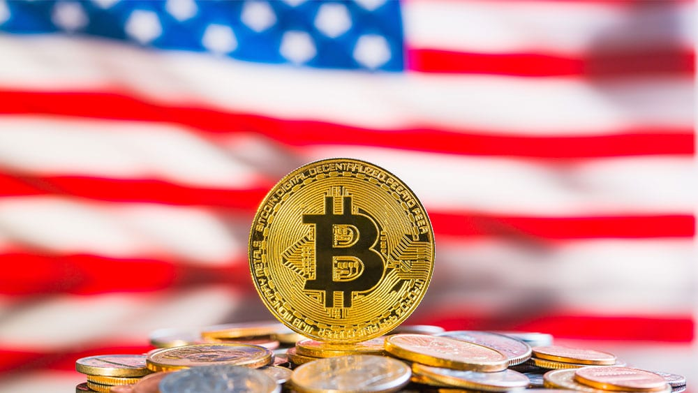 bandera estados unidos y bitcoins