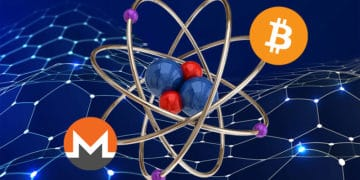 Átomo con bitcoin y monero sobre red hexagonal azul.