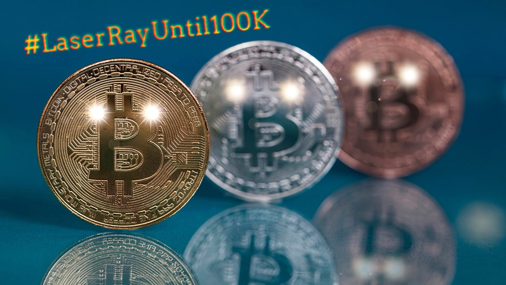 Bitcoin con ojos rayos laser.