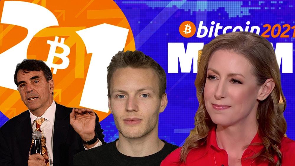 Bitcoin conference 2021 con flechas en alza y Tim Draper, Olaf Carlson-Wee, y Alyse Killeen en primer plano.