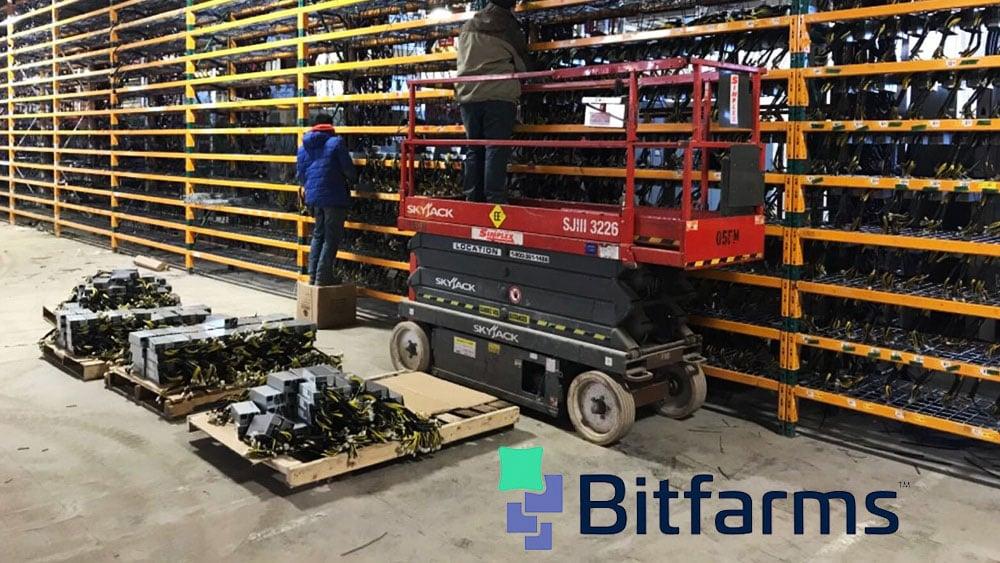 Granja de bitcoin con logo de Bitfarms.