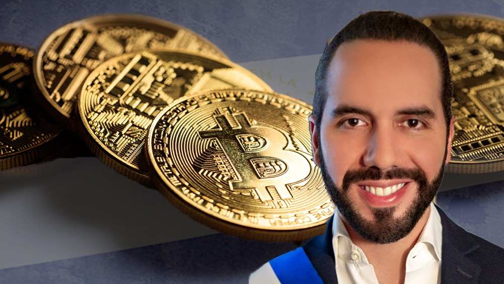 Bukele, bitcoins y bandera de El Salvador.