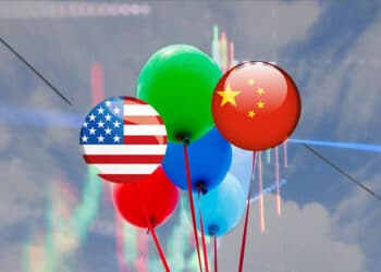 Globos de bandera de China y USA.