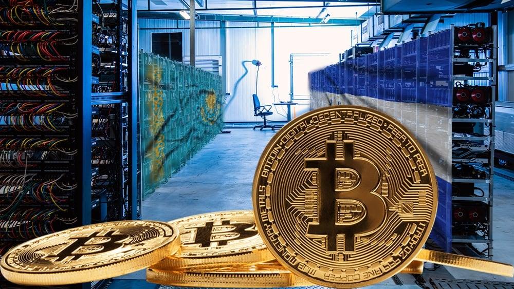 Mineros bitcoin con bandera de Kazajistan y El Salvador.