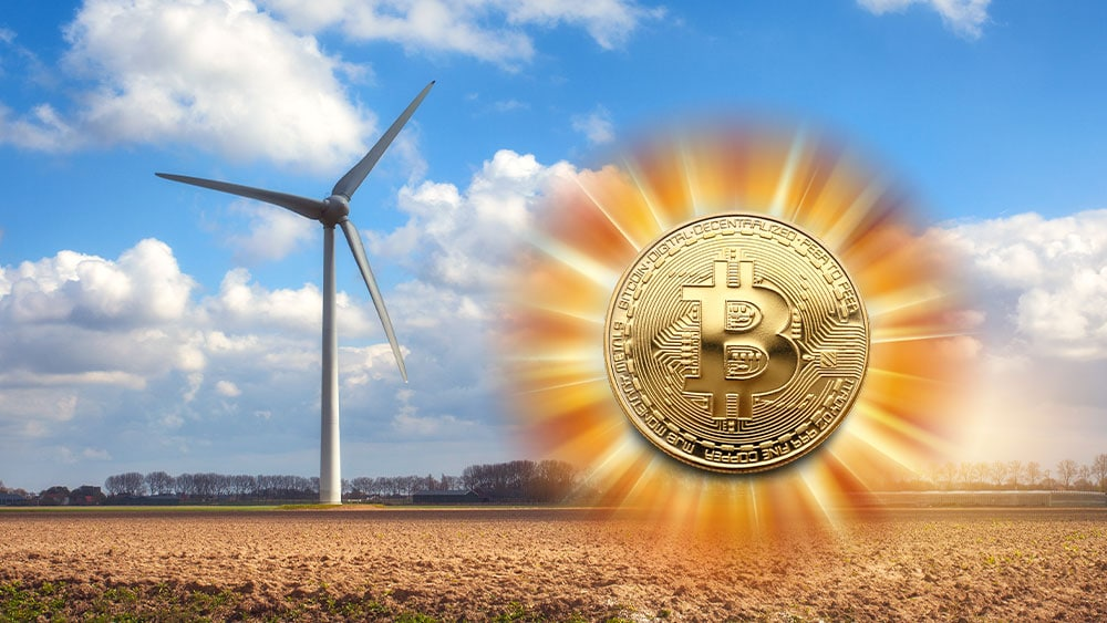Molino energía eólica y bitcoin resplandeciente.