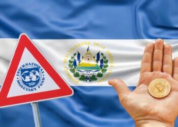 Bandera de El Salvador, mano con bitcoin y triángulo con logo FMI.