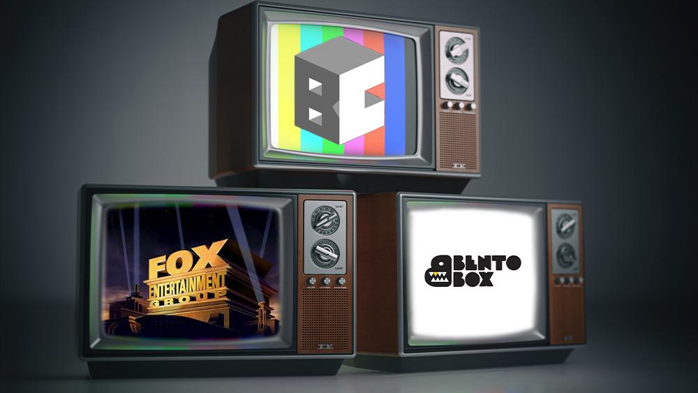 Bento Box, Fox y Block Chain en televisores antiguos.