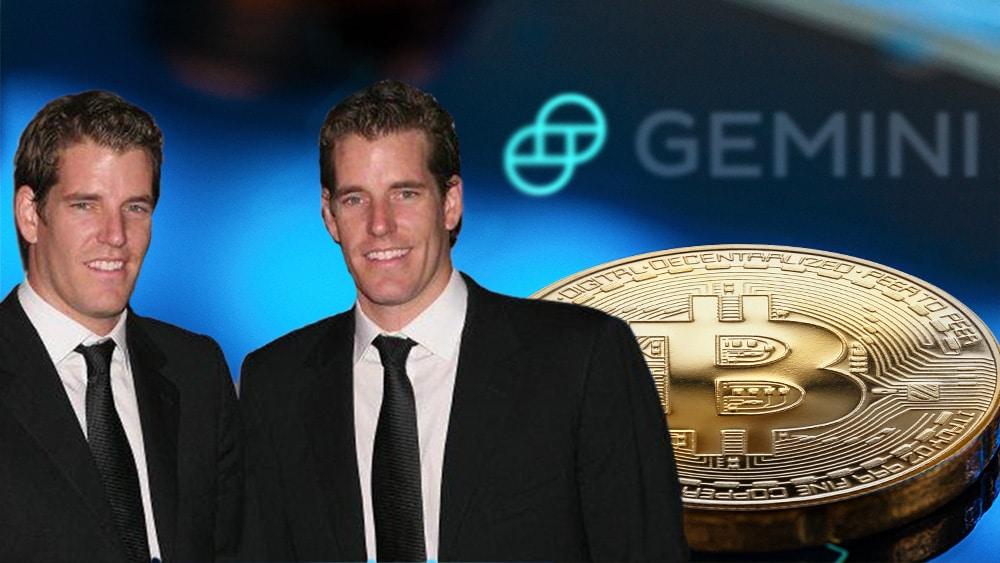 Gemini y gemelos Winkelvoss con bitcoin y logo de compañía.