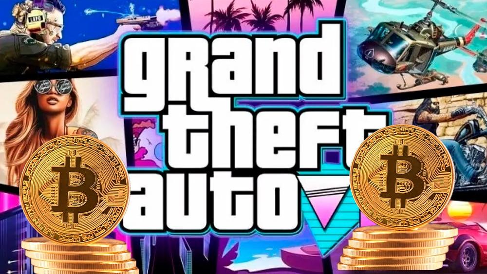 Poster de GTA y bitcoins.