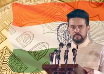 Bitcoin con bandera de India y Anurag Thakur