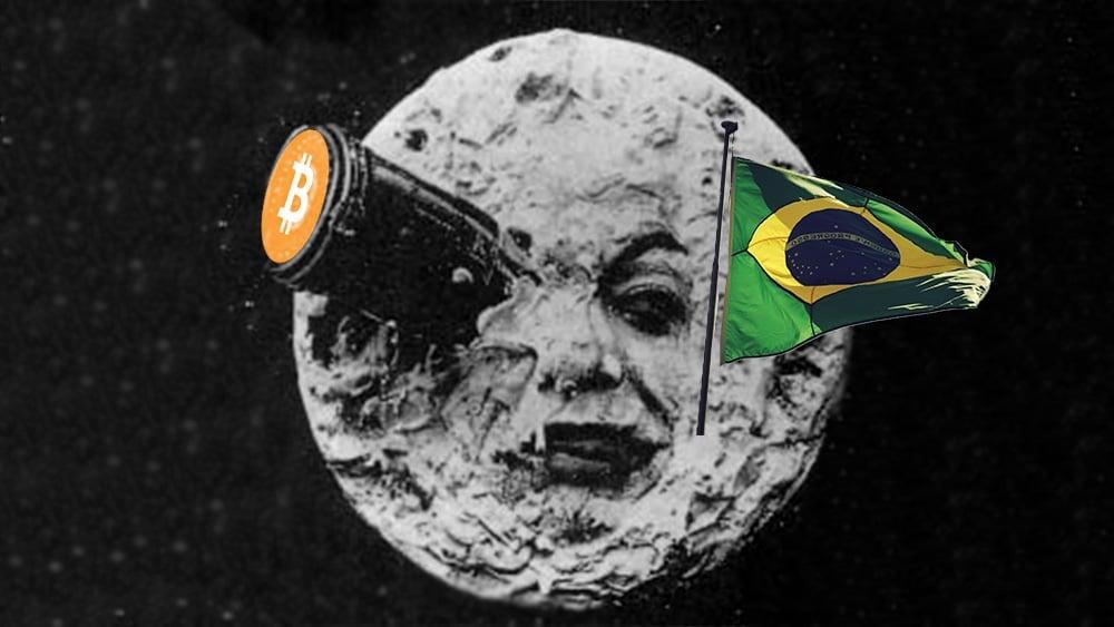 Le Voyage dans la lune con bitcoin y bandera de Brasil.