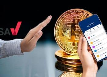 Mano con logo de ASA rechazando bitcoin y exchange luno.