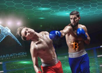 Boxeadores, uno de Marathon knoqueado y otro de bitcoin, con redes.