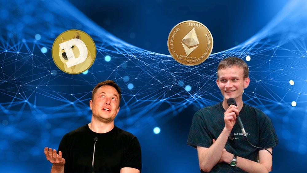Buterin y Musk con ether y dogge respectivamente, sobre fondo de retícula azul.