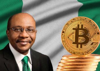 Bandera de Nigeria de fondo con bitcoins y Godwin Emefiele.