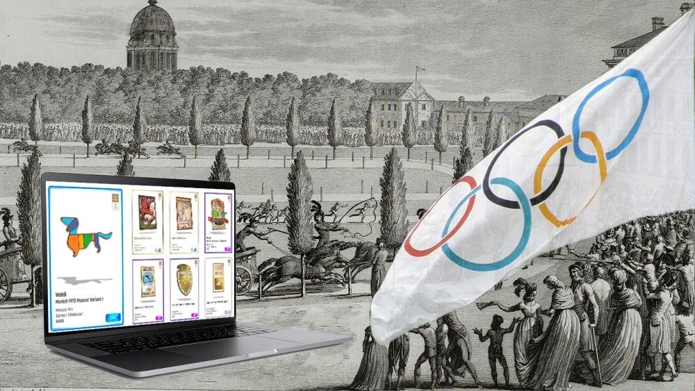 Juegos Olímpicos antiguos con bandera moderna y laptop con NFT.