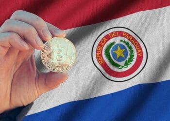 Bandera de Paraguay y Bitcoin.