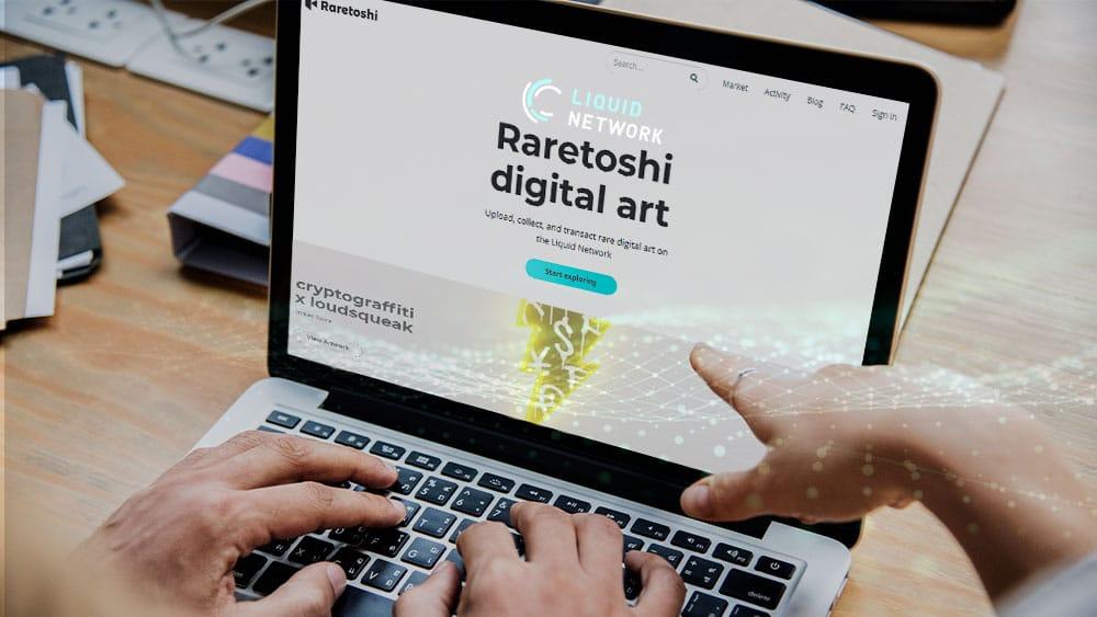 Raretoshi en pantalla de laptop con logo de Liquid Network.