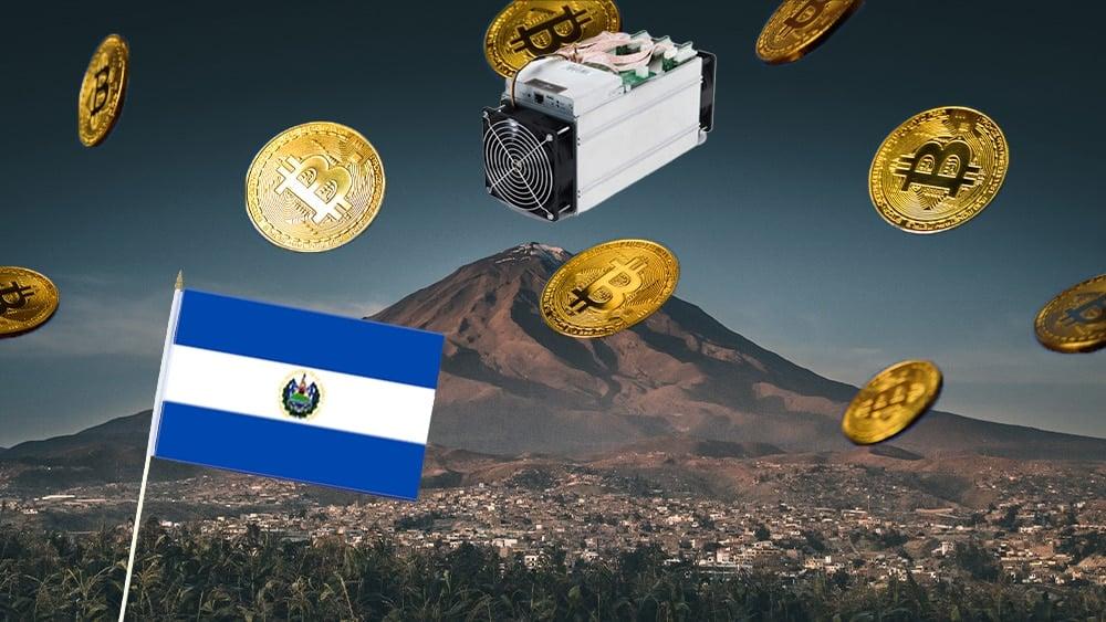 Volcán y minero de bitcoin con bandera de El Salvador.