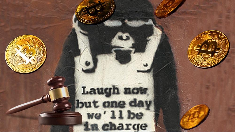 Cartel de Banksy con bitcoins y maso de subasta.