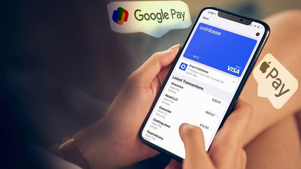 compras online pagos tarjeta débito coinbase google pay apple pay