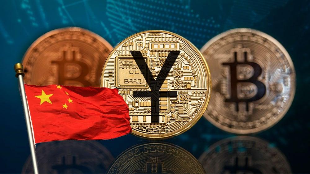 Bitcoin y Yuan digital con bandera de China.