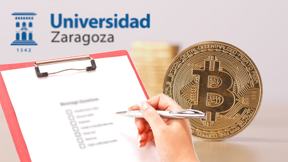 Bitcoin con formulario de encuenta y logo de Universidad Zaragoza.