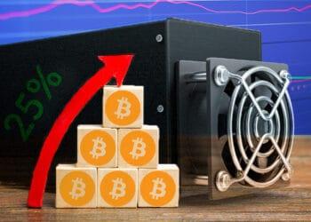 Minero de bitcoins y concepto de crecimiento.