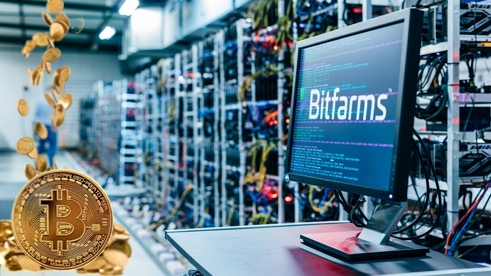 Granja de criptomonedas con logo de Bitfarms y BTC.