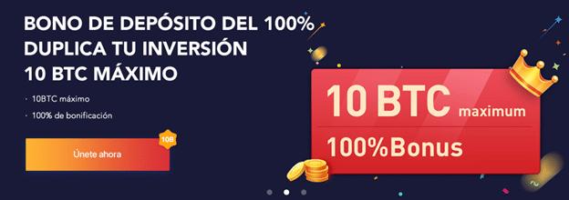 Pancarta promocional del bono del 100% de Bexplus