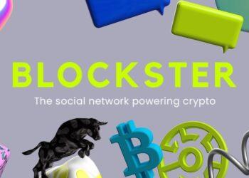 Logo de bitcoin con otras imagenes y Logo de Blockster al centro