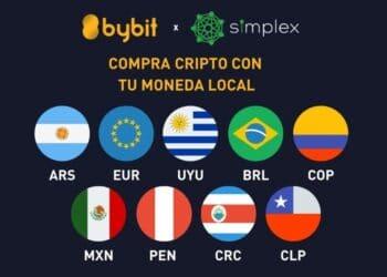 Logo de Bybit y Simplex con banderas latinas