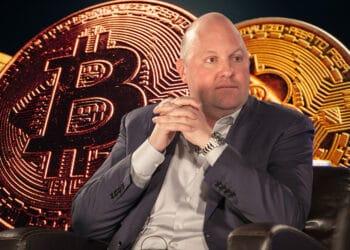 El nuevo fondo Andreessen Horowitz llega en un momento que bajó el precio de bitcoin. Composición por CriptoNoticias Fuentes:  Marc Andreessen  /  wikipedia.org  ;  FabrikaPhoto  /  elements.envato.com .