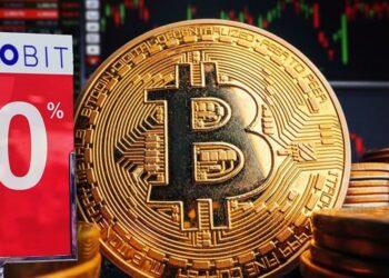 Moneda BTC con pancarta de ProBit del 50%