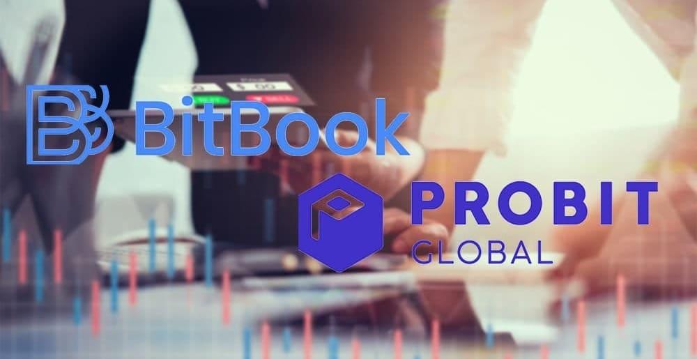 Logos de BitBook y Probit sobre fondo difuso