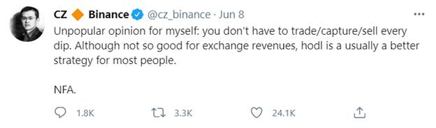 Captura de pantalla de un tweet de CZ de Binance
