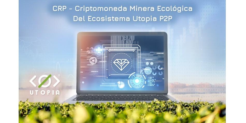 Laptop con el logo de Utopia en pantalla sobre cultivo