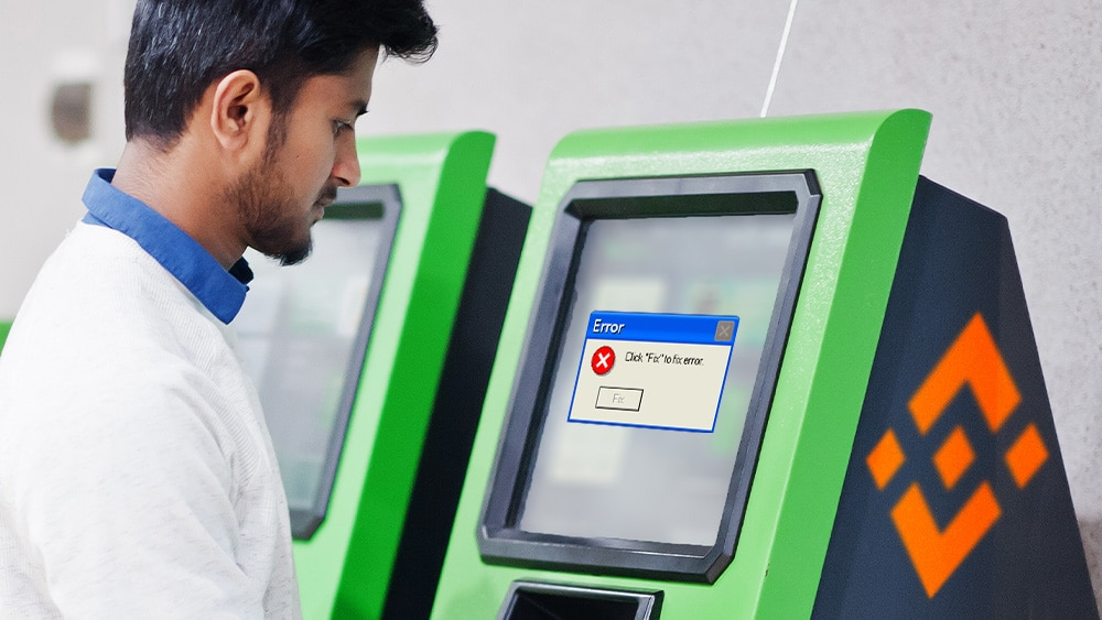 ATM de BInance con pantalla de Error.