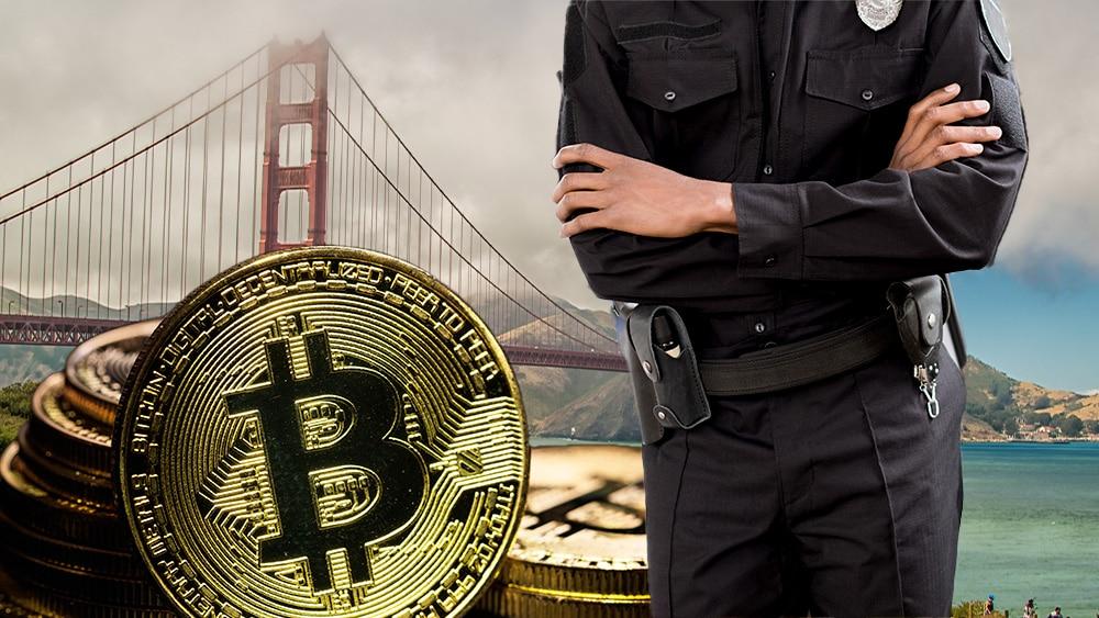 Policía en San Francisco con bitcoin.