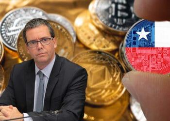 Fondo de criptomonedas con exsenador Harboe y mano sosteniendo criptomoneda con bandera de Chile.