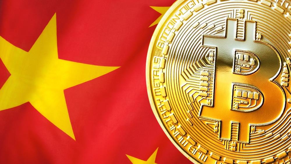 Bandera de China con BTC.