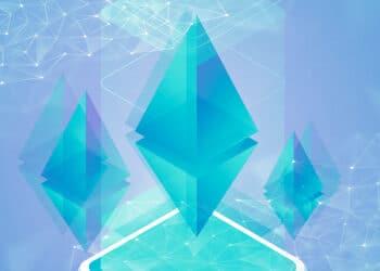 Logo de Ethereum y retícula azul.
