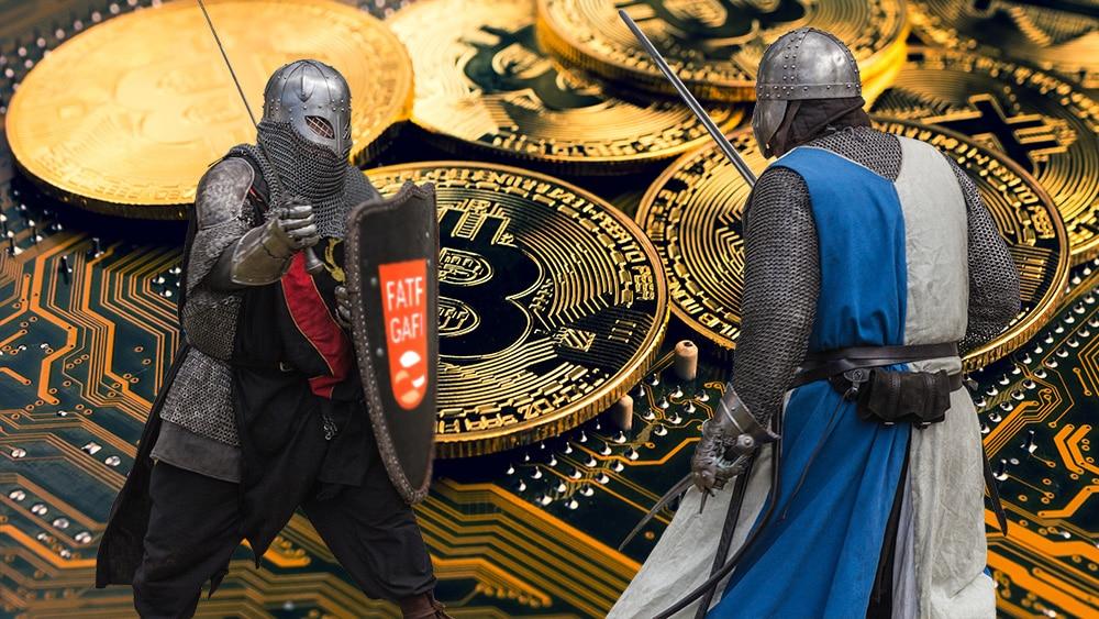 Luchadoes medievales, con logo de GAFI en el escudo y btc de fondo.